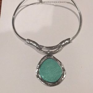 Turquoise and silver statement necklace